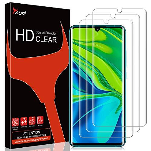 TAURI [3 Stück Schutzfolie für Xiaomi Mi Note 10 / Note 10 Pro, Displayschutzfolie [Fingerabdruck-ID unterstützen] [Blasenfreie] [Klar HD] Weich TPU Folie
