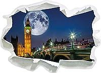 KAIASH ウォールステッカー ロンドンの大きな月の前にあるビッグベン紙3D壁の装飾3D壁ステッカー壁デカール-92x67cm