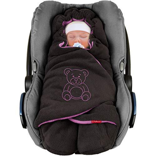 """ByBoom - Baby Winter-Einschlagdecke\""""Das Original mit dem Bären\"""", Universal für Babyschale, Autositz, z.B. für Maxi-Cosi, Römer, für Kinderwagen, Buggy oder Babybett, Farbe:Anthrazit/Lila"""