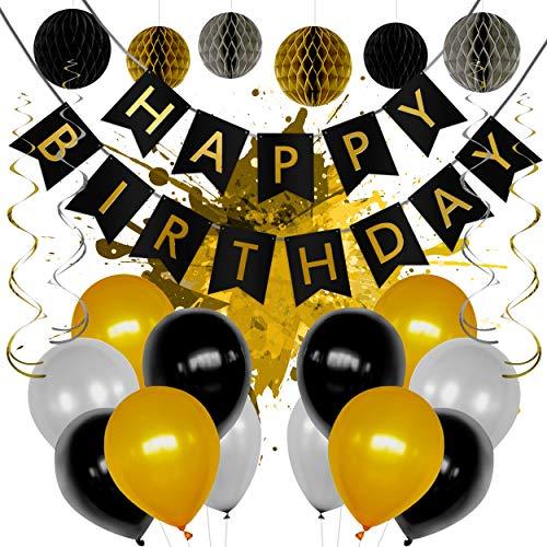 LEVANDI® Premium Geburtstagsdeko – Geburtstagsdekoration im Set mit [24] Teilen – Robustes & reißfestes Material – Kräftige Farben – Inklusive Luftpumpe & Gebrauchsanweisung (Schwarz/Gold)