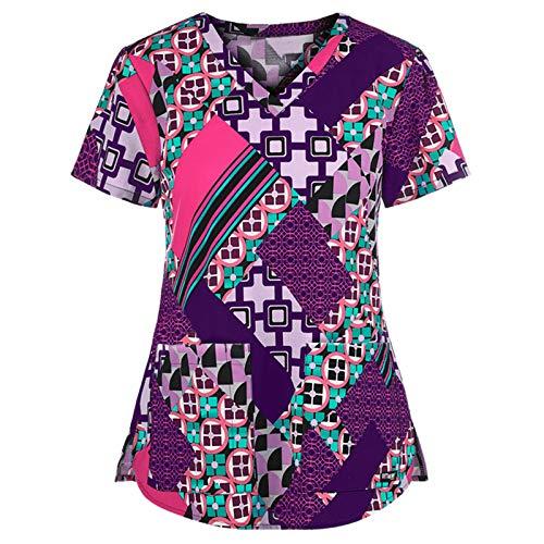 moonmisuni Nueva Camiseta de Enfermera Casual de Manga Corta con Cuello en V Camiseta de Trabajo para Mujeres con Cuello en V 009