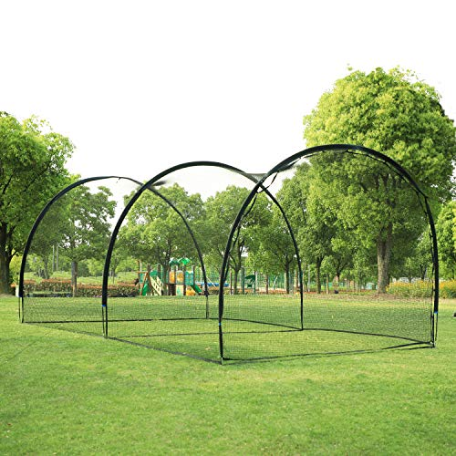 ORIENGEAR 20FT Baseball Batting Cage Net and Frame Softball Hitting Cage Netting for Pitching Training in The Backyard.