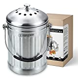 Compost Bin Countertop Pail Food Waste Container 1.3 Gallon Kitchen Trash Can, Stainless
