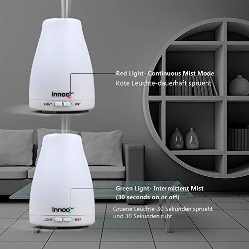 InnooTech Aroma Diffuser 100ml Diffusor Ultraschall Luftbefeuchter Kalten Nebel Technologie Abschaltautomatik Raumbefeuchter mit 7 LED Farbwechsel für Babies Yoga Kinderzimmer Schlafzimmer Büro usw. - 4