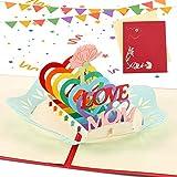 Sethexy 3D Carte per la festa della mamma Apparire Biglietti di ringraziamento Pensando a te carte Schede e buste vuote Carta di anniversario Carte di compleanno di mamma per donne (A)