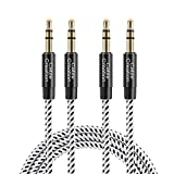CableCreation 3.5mm Audio Cable [2-Pack/6 Feet], 3.5mm Male to Male Stereo Aux Cable with Cotton Braided & 24K...