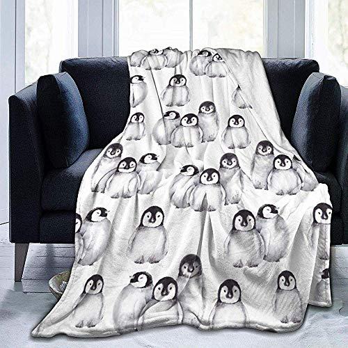 Nahtlose Baby-Pinguin-Winter-Tiere Decke | Superweiche Decke aus Mikrofaser | Fernsehdecke für Couchsofa