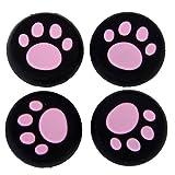 Ctzrzyt Capas de maneja de Palanca de Mando analogico de Silicona de Patron de Patas de Gato para Controlador de PS4 / One / PS3 / 360 de Color Rosa