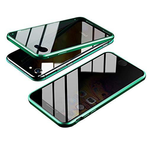 Jonwelsy Anti-Spy Cover per iPhone 8/7 (4,7 Pollice), 360 Gradi Protezione Case, Privacy Vetro Temperato Anti Peep Custodia, Adsorbimento Magnetico Bumper Metallo Frame per iPhone 7/8 (Verde)