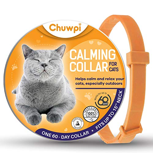 CHUWPI Calming Collar for Cats - Pheromone Calm Collars, Anxiety Relief Fits Small Medium and Large Cat - New Version - Adjustable and Waterproof with 100% Natural