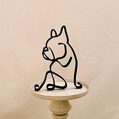 Metal Dog Minimalist Art Wall Sculpture, Minimalist Abstract Dog Line Wall Art, New Minimalist Dog Art Sculpture, Modern Minimalist Artistic Home Decoration Creative Ornaments (French bulldog)