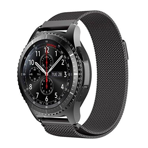 Uhrenarmband 22mm Edelstahl für Motorola Moto 360 2nd Gen 46mm Ersatzarmband mit Magnetverschluss in Schwarz