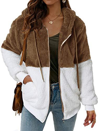 SUNNYME Felpa con cappuccio da donna con stampa leopardata soffice felpa cappotto cerniera tasca oversize giacca invernale B-coffee XL