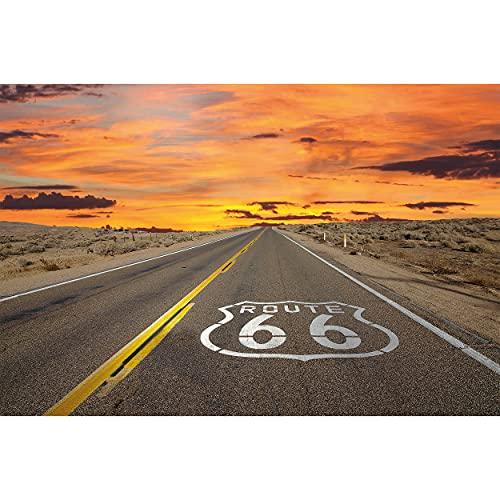 GREAT ART® XXL Póster – Route 66 – Americano Autopista Desde Chicago Hasta California EE.UU. Mural Vacaciones Puesta Desierto USA Cartel Decoración (140 X 100 Cm)