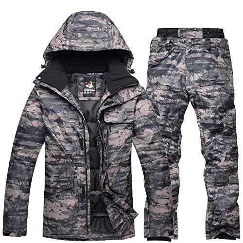Acant Herren Winter Outdoor Camouflage Skianzüge, Snowboard Kleidung Wasserdicht Warm Verdicken Ski-Jacken Ski-Hosen Set B Camouflage-XL