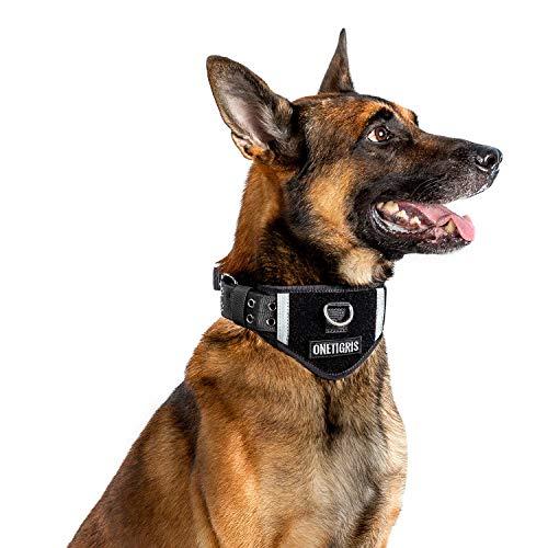 OneTigris Verstellbare Hundehalsband Weiches Hundehalsband für Hunde  MEHRWEG Verpackung (L/XL, Schwarz 07)