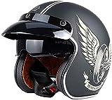 GXYS Harley Casco Mezzo Moto Vintage per Motocicletta Casco Aperto DOT/ECE Unisex 3/4 Cruiser Chopper Jet Helmet con Occhiali da Sole A Scomparsa,L=(59~60cm)