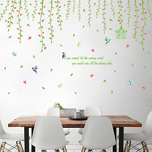 Groene Cirrus muurstickers, decoratie voor thuis, woonkamer, slaapkamer, badkamer, keuken, tattoos, muurschild, zelfklevend, folie