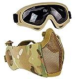 AOUTACC Airsoft - Juego de máscaras de malla de media cara con protección para los oídos y gafas para CS/caza/paintball/tiro (DD)