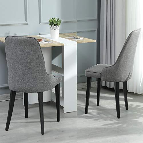 DICTAC Esszimmerstühle 2er Set Küchenstuhl Polsterstuhl Leinen Stuhl Wohnzimmerstuhl grau Stoff Stuhl Esszimmer mit Rückenlehne 7,5 cm Schwamm schwarz Metall stuhlbeine belastbar 200kg