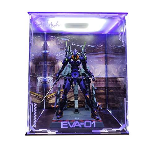 Bandai MB New Century Evangelion EVA Primero Modelo Modelo marco de la exhibición Caja de luz LED hecha a mano de PVC Figura Modelo GK cuadro de visualización de guardapolvos 26cm * 26cm * 30cm Altura