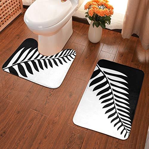 Rasyko Anti-Rutsch-Pad im Badezimmer Silberfarn von Neuseeland Agc 2-teiliges Badteppich-Set Flache Badematten aus weichem Komfort mit konturiertem Toiletten-Teppich in U-Form für Badezimmer