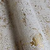 WALLCOVER Papel pintado dorado y blanco, diseño vintage, aspecto usado, papel pintado de vinilo con textura de lujo, para dormitorio, salón, cocina, pasillo, fabricado en Alemania