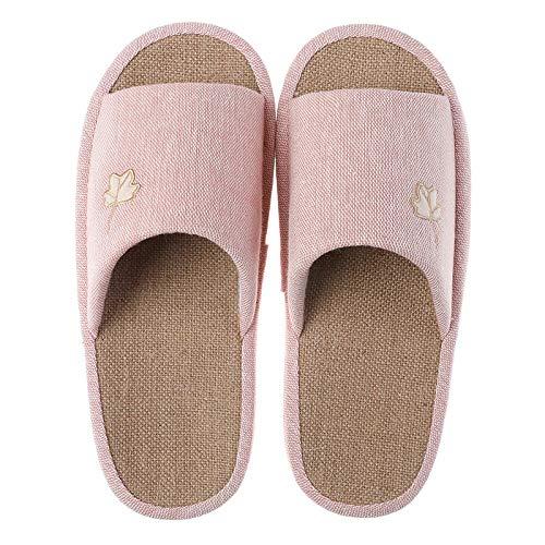 KKMOCK Zapatillas de lino a rayas de cuatro estaciones para interior suave antideslizante para el hogar, hombres y mujeres, muebles para el hogar, zapatillas de lavabo