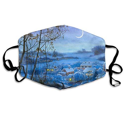Winters Nachtgesicht Mas_ke Landschaft Schnee Weihnachten Wald Mond Bliz-zard Schornstein Sky Hill Wiederverwendbarer waschbarer Gesichtsschutz