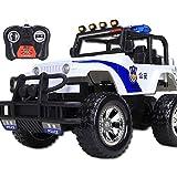 Remoto Monster Truck Control de Policía 2.4Ghz del coche del control de radio con la Policía Luces 01:12 RC Coches campo a través militar Camión Rock Crawler Buggy for los niños de juguete de regalo d