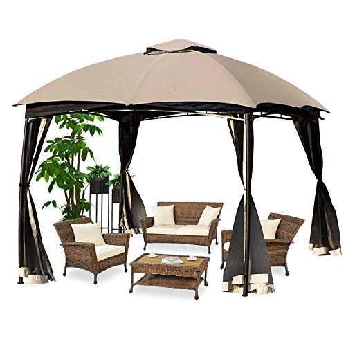 DikaSun 10'X10' Gazebos for Patios Dual Roof Gazebo and Mosquito Nettings,Soft Top Outdoor Gazebo Canopy Shelter Tent with 100 Square Feet of Shade
