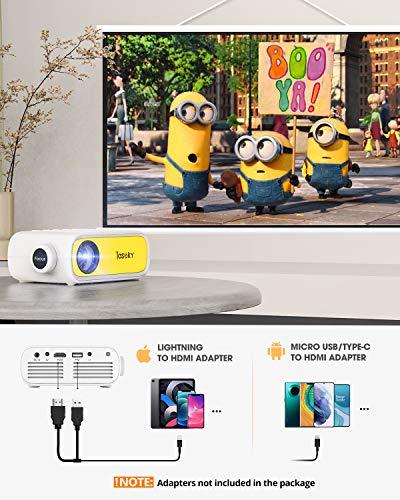 Tesoky YG280 Proyector para Movil, Proyector Portatil Compatible con USB/HDMI/DC/AV, Soporta Full HD y 23 Idiomas, Mini… 2