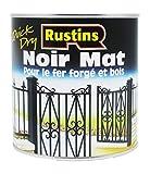 Rustins BLAM500 - Peinture mat pour bois et métal - extérieur et d'intérieur - Séchage rapide - Noir - 14m²/L - 500ml