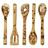Beauty and the Beast Burned Wooden Spoons Cooking &Serving Utensils Set Bamboo Spoon Slotted Kitchen Utensil Fun Gift Idea Warming Present (Set of 5)