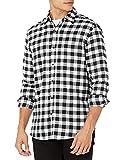 Amazon Essentials Men's Regular-Fit Long-Sleeve Flannel Shirt, Black Buffalo Plaid, Medium