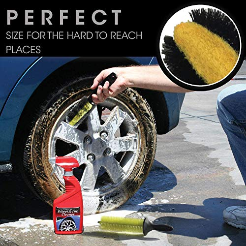 Ultimate Wheel Brush Set and Cleaning Kit - Includes Long Reach Rim and Wheel Cleaner Brush, Brake Dust Tire Scrubber and Microfiber Wash Mitt - Perfect For Auto Detailing