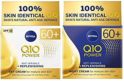 Nivea Q10 Power Anti-Wrinkle & Replenishing Day Cream Spf15 and Night Cream for mature skin 60+ 50ml from Nivea