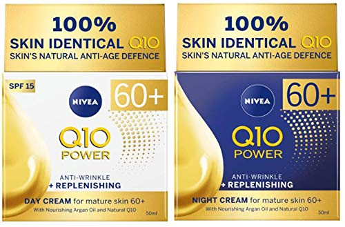 Nivea Q10 Power Anti-Wrinkle & Replenishing Day Cream Spf15 and Night Cream for mature skin 60+ 50ml