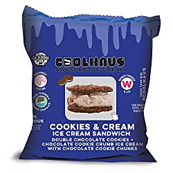 Coolhaus, Cookies & Cream Ice Cream Sandwich with Double Chocolate Chip Cookies, 5.8 oz (Frozen)