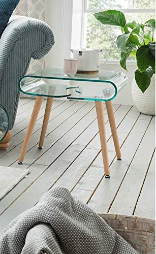 Möbisandmore Designer salontafel Swing 100 cm glazen tafel bijzettafel 50x49x40cm eiken