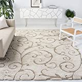 SAFAVIEH Florida Shag Collection SG455 Scrolling Vine Graceful Swirl Textured Non-Shedding Living Room Bedroom Dining Room Entryway Plush 1.2-inch Thick Area Rug, 6' x 9', Cream / Beige