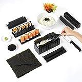 Kit de fabricación de sushi, 11 piezas de plástico para hacer sushi, juego de herramientas completo con 8 moldes de rollo de arroz de sushi y 3 cuchillos de tenedor, para principiantes, negro