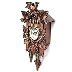 PETA Cuckoo Clock, Handcrafted European Style Retro Wooden Wall Clock Decor Mechanical Cuckoo Pendulum Clock for Living Room Bedroom Home House Decorative
