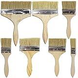 Brochas Pintura,7 Piezas Planas Madera Cepillo de Pintura Set pinceles de pintura de pared para Paredes y Pintar Madera, Tinturas, Pegamentos y Gesso
