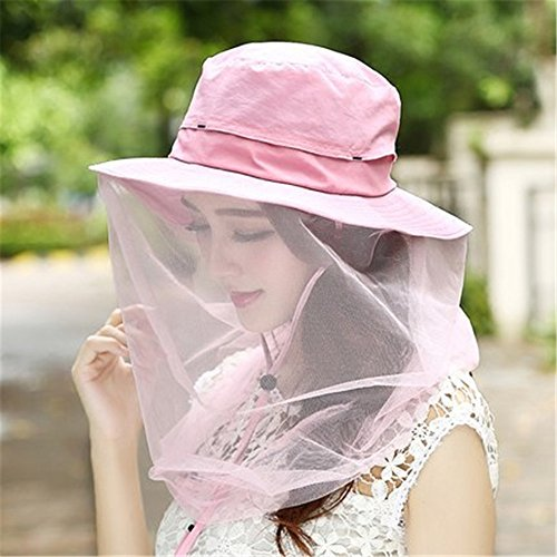 WENDYWU Camouflage Beekeeping Beekeeper Anti-mosquito Bee Bug Insect Fly Mask Cap Hat with Head Net Mesh Face Protection Outdoor Fishing Equipment (Pink)
