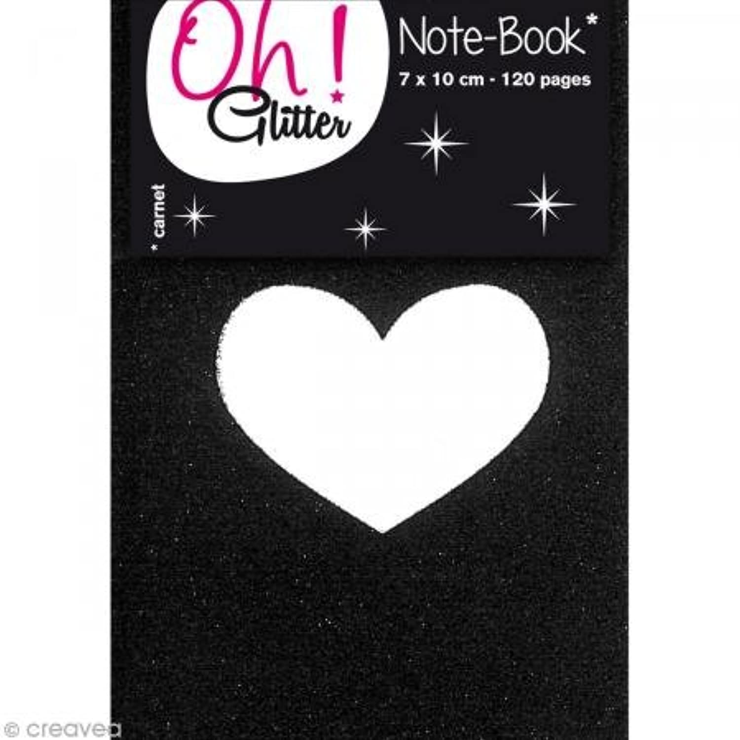 Oh ! Glitter Shimmer Mini Notebook, Paper, 7?x 10?x 1?cm Black