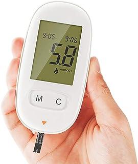 FJLOVE Glucómetro Medical Diabetes,Prueba de glucosa Equipo médico Profesional con Chip de Gama Alta,50 Tiras reactivas sin código,50 lancetas,Dispositivo de punción