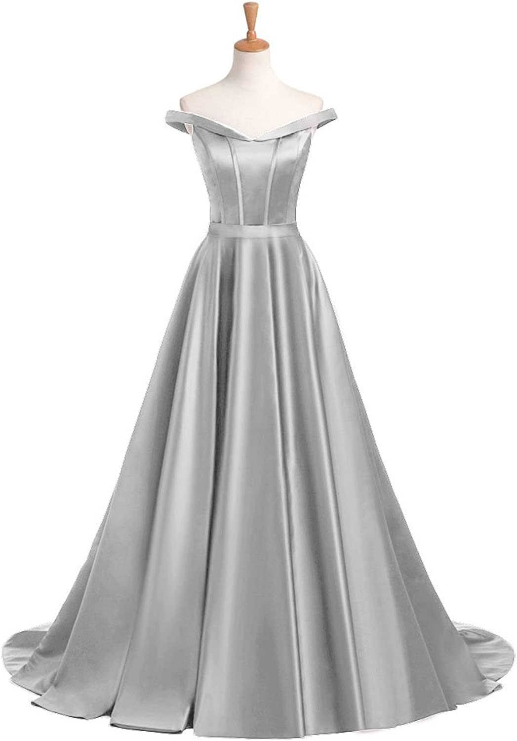 Aishanglina Satin OffShoulder Prom Wedding Dress for Women