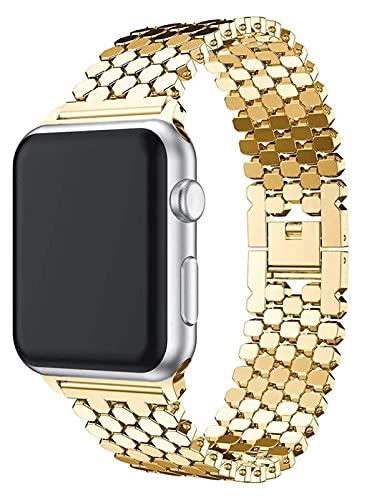Bandas de metal compatibles con Apple Watch 38mm 40mm 42mm 44mm Correa de acero inoxidable de acero inoxidable Link Banda Pulsera Sport Soft transpirable para iWatch Series 6 / SE / 5/4/3/2/1 para muj
