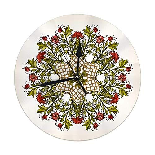 Reloj de Pared Redondo Hermoso Deco Vintage Flores Mandala Diseño Amuleto étnico Decorativo para el hogar, la Oficina, la Escuela 9.8IN